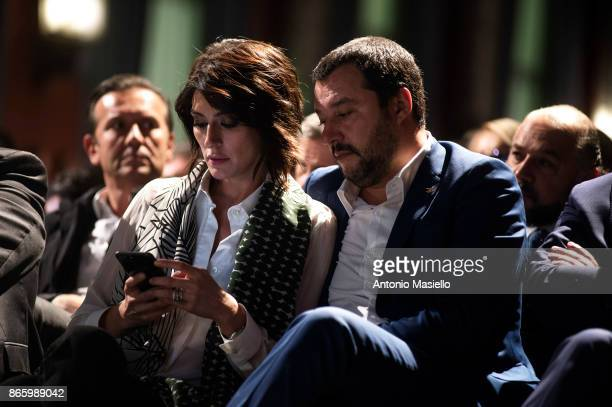 Matteo Salvini and Elisa Isoardi take part at the book presentation of Sergio Pirozzi Mayor of Amatrice on October 24 2017 in Rome Italy