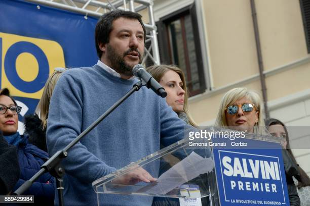 Matteo Salvini during the demonstration of the Lega Nord party in Piazza dei SS Apostoli against the IUS SOLI law and against immigration on December...
