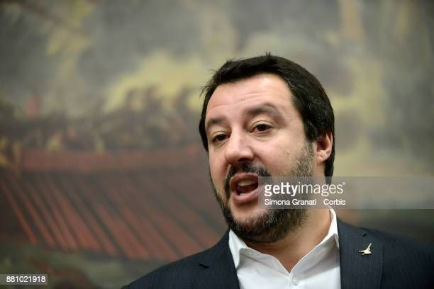 Matteo Salvini during the Press conference the Lega Nord with the National Observatory to support victims of violence on November 28 2017 in Rome...