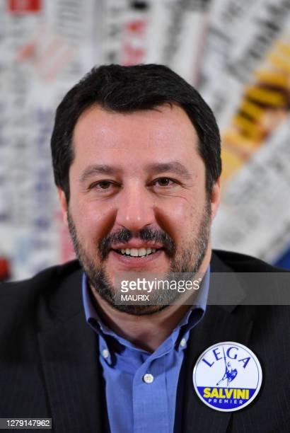 Matteo Salvini leader de la Ligue du Nord parti d'extreme droite Italien participe à une conference de presse à l'Association de la Presse Etrangère...