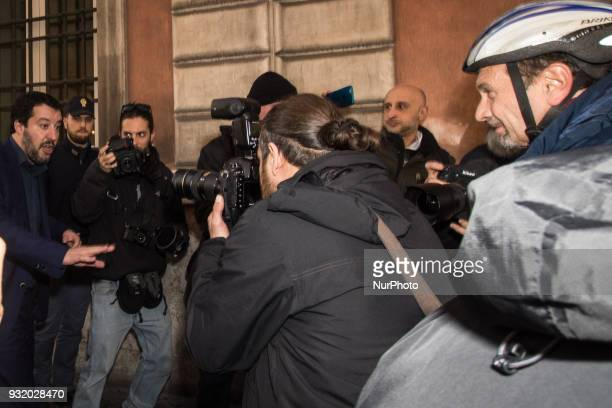 Matteo Salvini leader of Lega political party attends a meeting with foreign press on March 14 2018 in Rome Italy