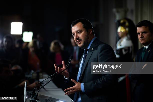 Matteo Salvini Leader of Lega political party speaks to the press after a new day of meetings with Italian President Sergio Mattarella on formation...