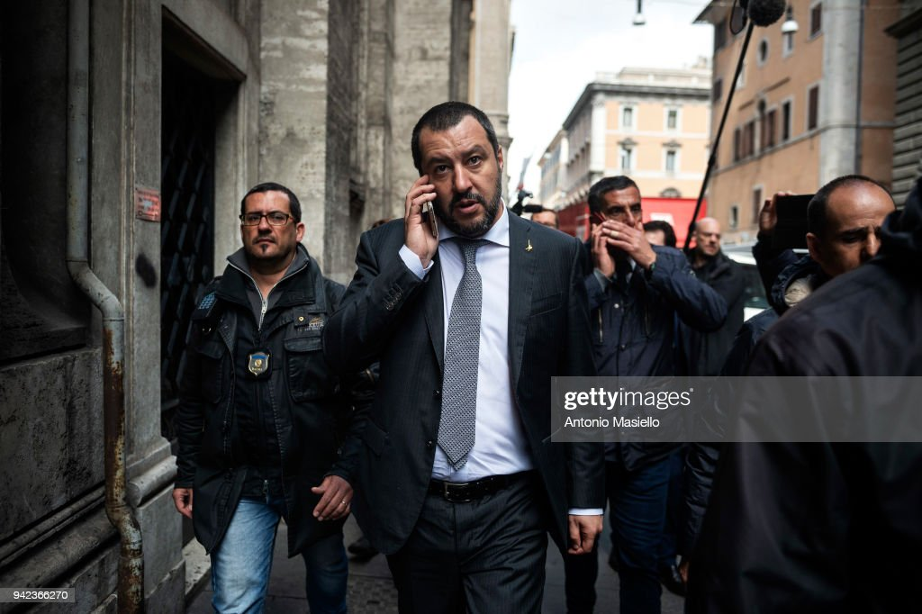 Matteo Salvini, leader of 'Lega' political party, walks after a meeting with Italian President Sergio Mattarella on the second day of consultations of political parties for the formation of the new government on April 5, 2018 in Rome, Italy.