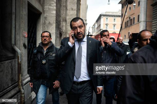 Matteo Salvini leader of Lega political party walks after a meeting with Italian President Sergio Mattarella on the second day of consultations of...