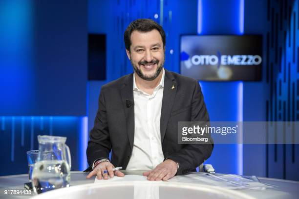 Matteo Salvini leader of the antimigrant and euroskeptic Northern League party smiles during a recording of the 'Otto e Mezzo' program on La 7...