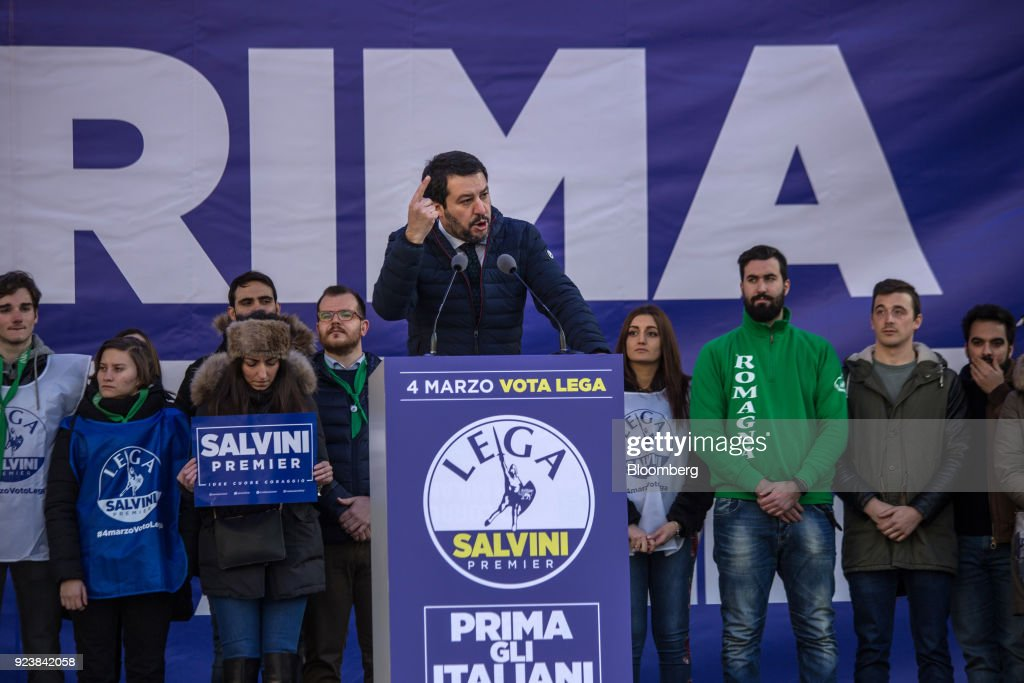 The League Leader Matteo Salvini Holds A General Election Campaign Rally : Fotografía de noticias