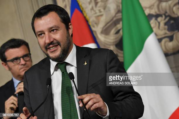 Matteo Salvini leader of the farright party League speaks to the press after a meeting with Italian President Sergio Mattarella on May 21 2018 at the...