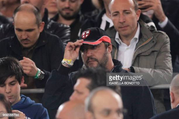 Matteo Salvini leader of the farright party Lega is seen in the stands during the Italian Tim Cup final Juventus vs AC Milan at the Olympic stadium...