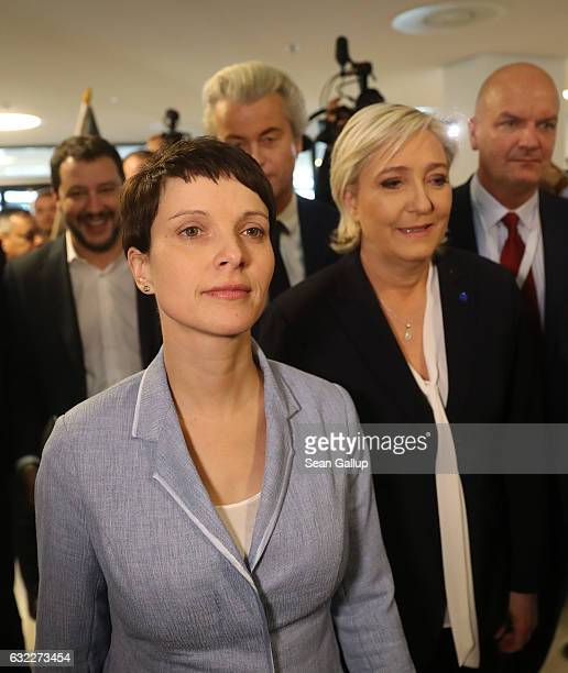 Matteo Salvini leader of the Italian Lega Nord political party Frauke Petry leader of the Alternative for Germany political party Geert Wilders...