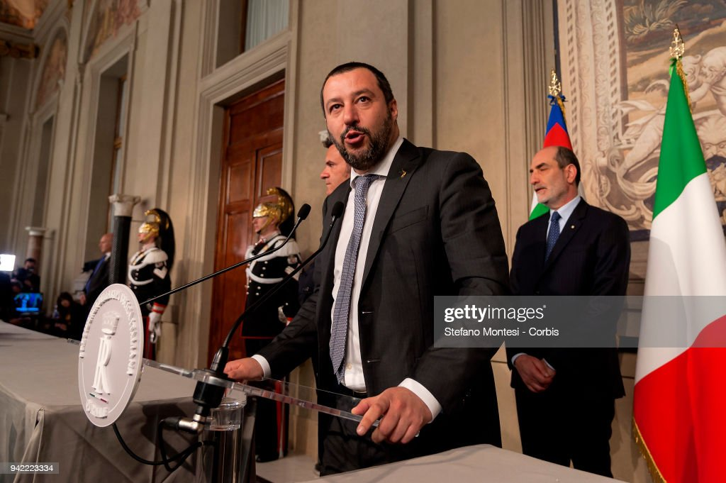 Matteo Salvini leader of the 'League' party attends a press conference after a meeting with Italy's President Sergio Mattarella during the second day of consultations with political parties for the formation of the new Government at the Quirinale palace in Rome on April 5, 2018 in Rome, Italy.