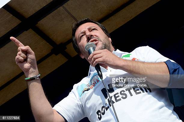 Matteo Salvini leader of the Northern League speaking at the national demonstration of street vendors against the Bolkestein Directive on September...