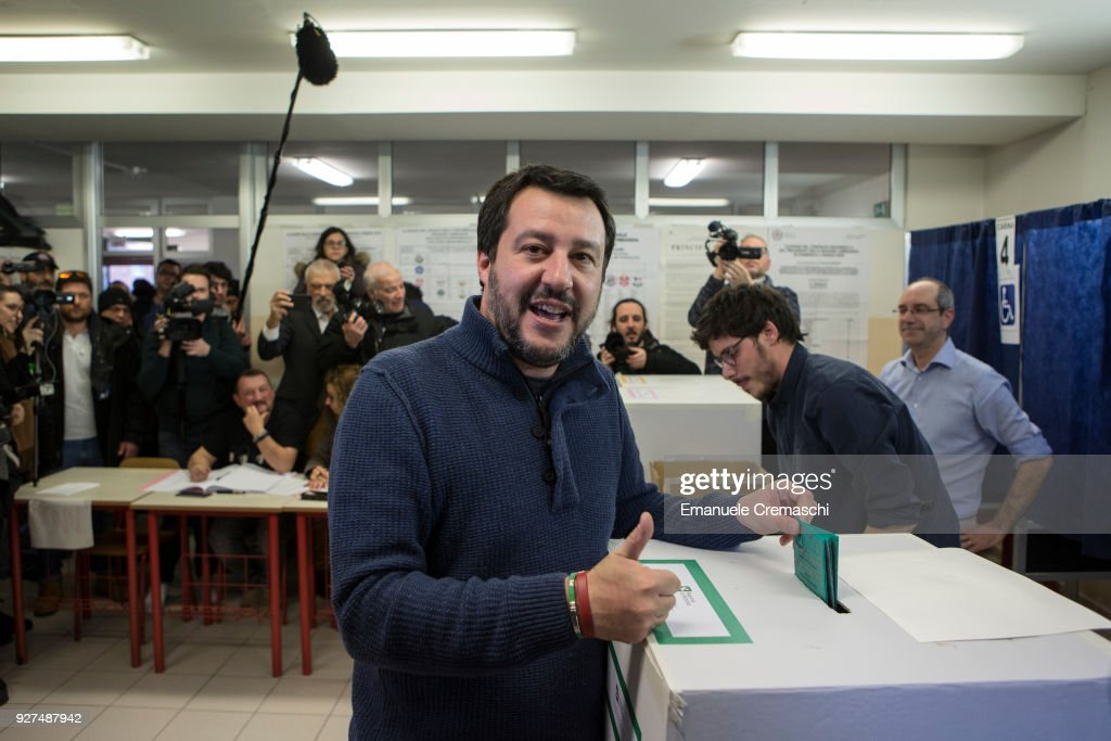 Matteo Salvini, leader of the right-wing populist party Lega (League, formerly known as Lega Nord, Northern League), casts his vote at a polling station on March 4, 2018 in Milan, Italy. The economy and immigration are key factors in the 2018 Italian General Election after parliament was dissolved in December 2017. Campaigning on the right are Silvio Berlusconi of Forza Italia teaming up with Matteo Salvini of the Eurosceptic Lega. While on the centre-left is Matteo Renzi, leader of the Democratic Party. Challenging both camps is the leader of the Five Star Movement, Luigi Di Maio.