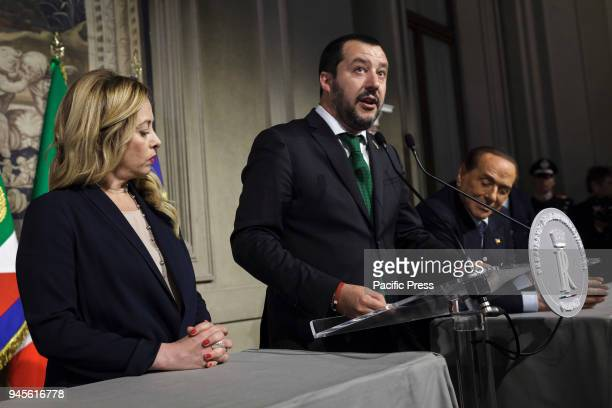 Matteo Salvini League Party secretary speaks with journalists after a meeting with Italian President Sergio Mattarella during a second round of...