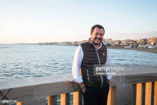 Matteo Salvini Lega Nord political party poses for photographers before the closing act of the electoral campaign for presidency of Ostia's city hall...