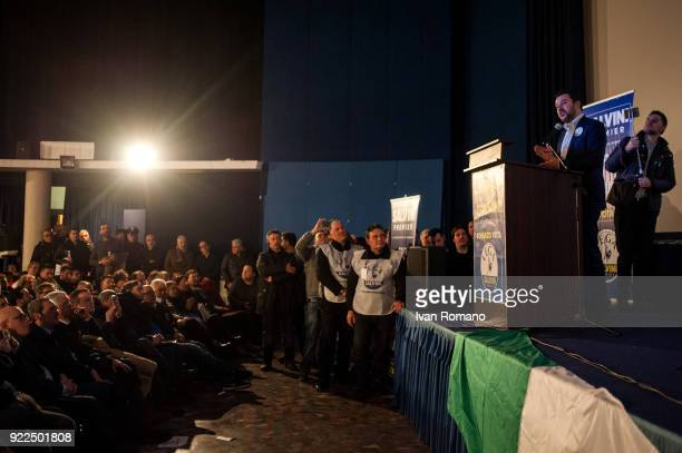 Matteo Salvini premier candidate for the League attends a campaign event at the San Marco Cinema on February 21 2018 in Caserta Italy The Italian...