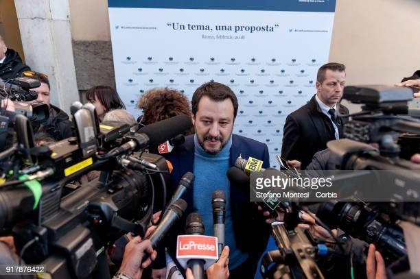 Matteo Salvini secretary of the Northern League during a meeting with Confcommercio to present the programme for the party for the upcoming general...