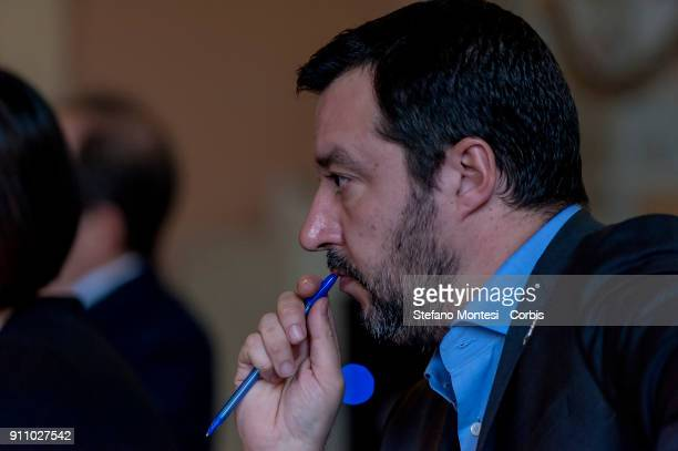 Matteo Salvini secretary of the Northern League during the assembly of Family day and Catholic Alliance presents the programme for the party for the...