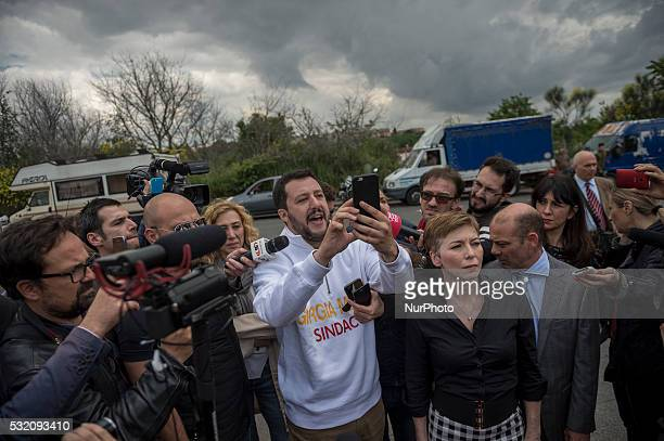 Matteo Salvini visits a nomad camp during electoral meeting of the Rome mayoral candidate Giorgia Meloni on May 18 2016 in Rome Italy