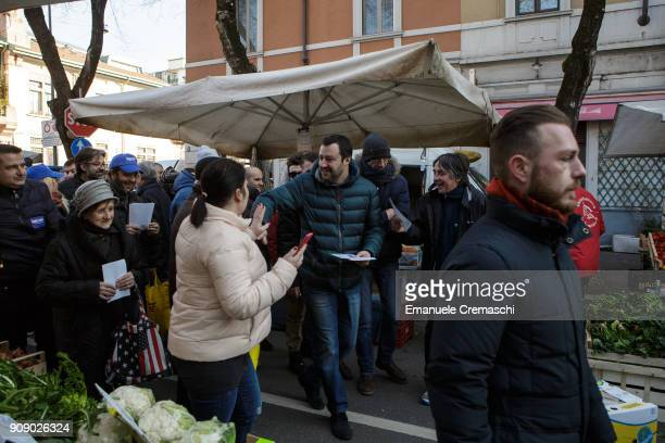Matteo Salvini visits an openair market on January 22 2018 in Milan Italy Salvini leader of the rightwing populist party Lega is running as candidate...
