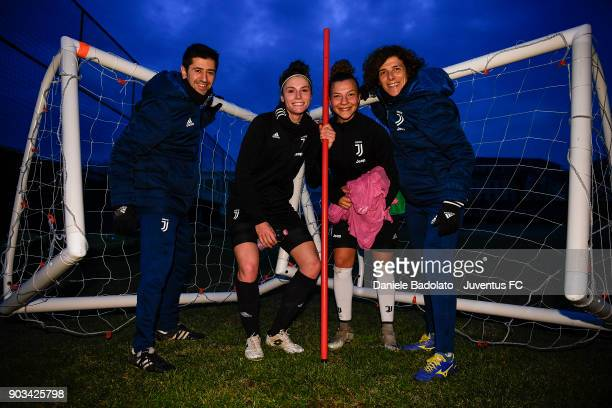 Matteo Scarpa Cecilia Salvai Arianna Caruso and Rita Guarino during a Juventus Women training session on January 10 2018 in Turin Italy