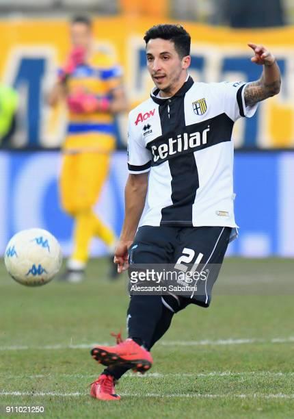 Matteo Scozzarella of Parma Calcio in action during the Serie B match between Parma Calcio and Novara Calcio at Stadio Ennio Tardini on January 27,...