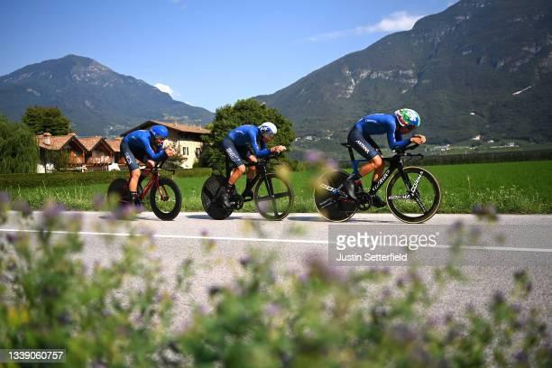 Matteo Sobrero, Filippo Ganna, Alessandro De Marchi and Team Italy sprint during the 27th UEC Road Cycling European Championships 2021, Mixed Relay a...