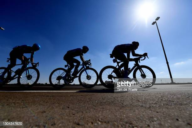 Matteo Sobrero of Italy, Samuele Battistella of Italy and Team Astana-Premier Tech & Alexys Brunel of France and Team Groupama-FDJ during the 3rd UAE...