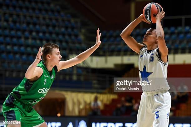 Matteo Spagnolo #6 of U18 Stellazzurra Rome in action during the Adidas Next Generation Tournament game between U18 Divina Seguros Joventut Badalona...