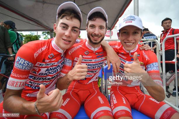 Matteo Spreafico, Raffaello Bonusi and Kevin Rivera Serran awaiting for the Awards Ceremony at the end of the fifth and final stage of the 2017 Tour...