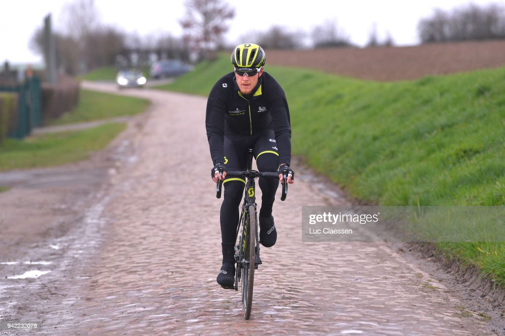 Matteo Trentin of Italy and Team Michelton Scott during training of 116th Paris to Roubaix 2018 on April 5, 2018 in Arenberg, France.