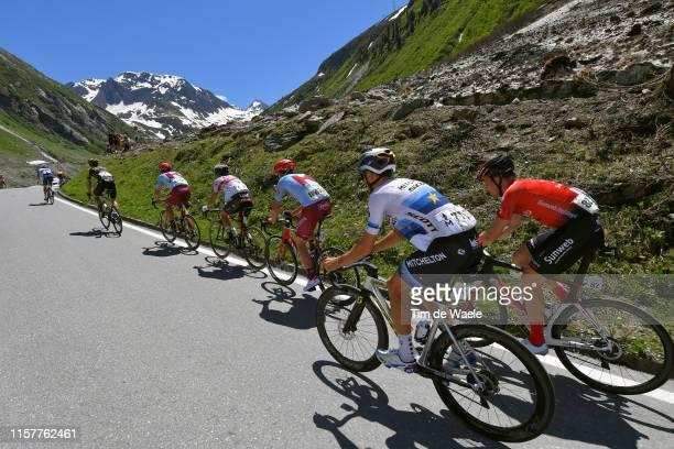 Matteo Trentin of Italy and Team Mitchelton - Scott / Nikias Arndt of Germany and Team Sunweb / Nufenenpass / Peloton / Landscape / Mountains / Snow...