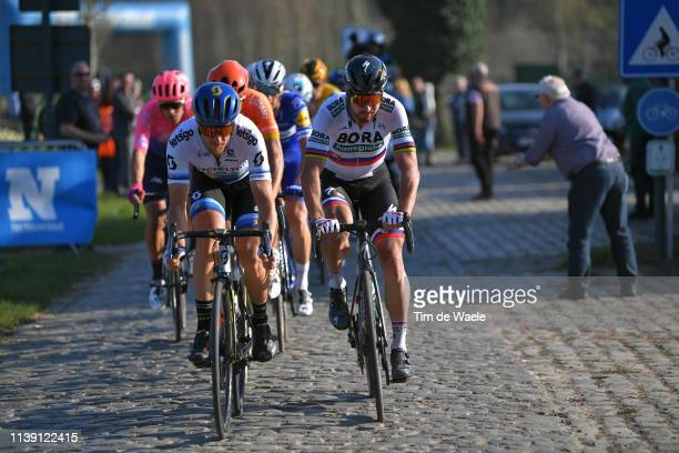 Matteo Trentin of Italy and Team Mitchelton Scott / Peter Sagan of Slovakia and Team Bora - Hansgrohe / Tiegemberg Cobblestones / during the 62nd E3...