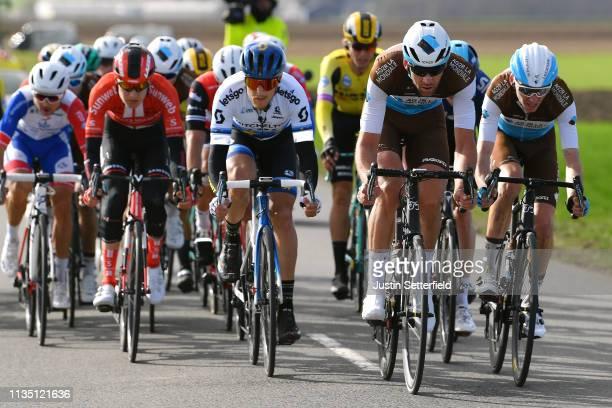Matteo Trentin of Italy and Team Mitchelton - Scott / Stijn Vandenbergh of Belgium and Team AG2R La Mondiale / Romain Bardet of France and Team AG2R...