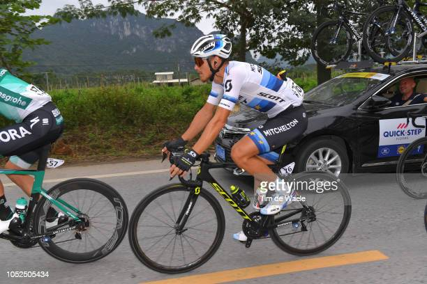 Matteo Trentin of Italy and Team MitcheltonScott European Champion Jersey / during the 2nd Tour of Guangxi 2018 Stage 4 a 1522km stage from Nanning...