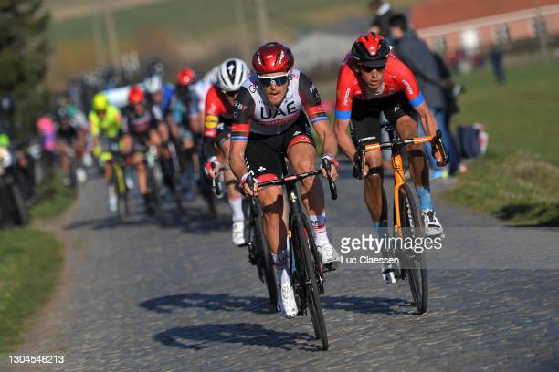 Matteo Trentin of Italy and UAE Team Emirates & Dylan Teuns of Belgium and Team Bahrain Victorious during the 73rd Kuurne - Bruxelles - Kuurne 2021 a...