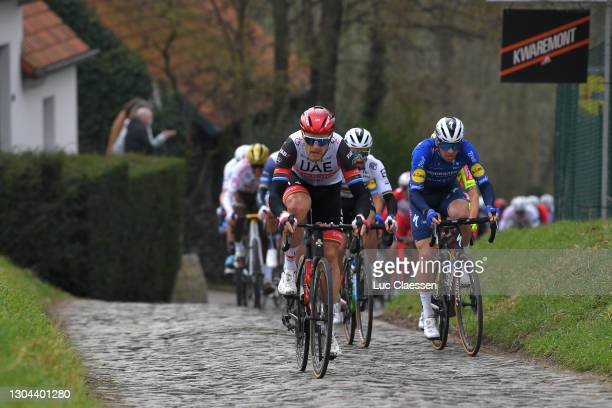 Matteo Trentin of Italy and UAE Team Emirates, Julian Alaphilippe of France & Zdenek Stybar of Czech Republic and Team Deceuninck - Quick-Step during...