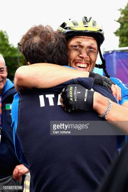 Matteo Trentin of Italy celebrates after winning gold in the Men's Road Race during the road cycling on Day Eleven of the European Championships...