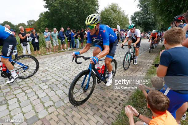 Matteo Trentin of Italy / Cobblestones / Fans / Public / during the 25th UEC Road European Championships 2019 - Elite Men's Road Race a 172,6km race...