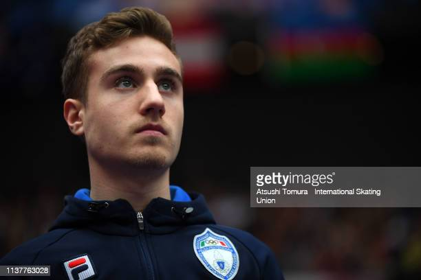 MatteoRizzo of Italy is seen prior to competing in the Men Free Skating on day four of the 2019 ISU World Figure Skating Championships at Saitama...