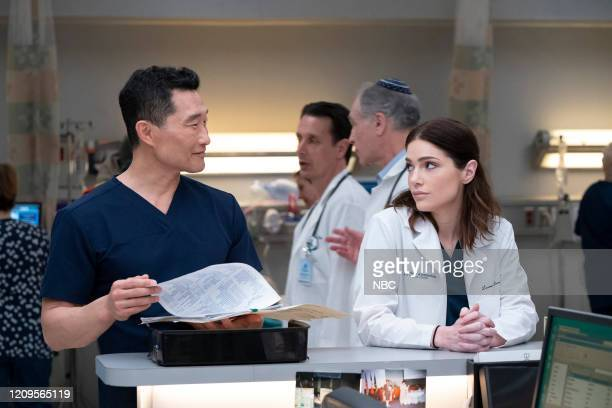 NEW AMSTERDAM Matter Of Seconds Episode 219 Pictured Daniel Dae Kim as Dr Cassian Shin Janet Montgomery as Dr Lauren Bloom