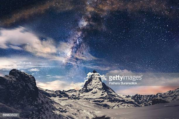 matterhorn and milky way - snow moon stock pictures, royalty-free photos & images