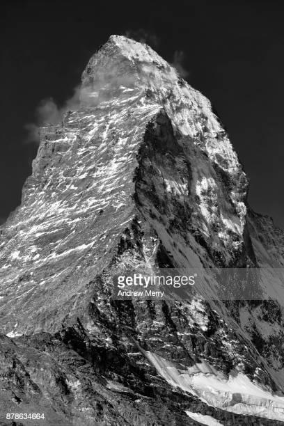 Matterhorn, close up of peak in black and white. Zermatt, Switzerland.