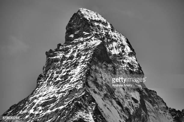 Matterhorn, close up of snow capped mountain peak in black and white. Zermatt, Switzerland.