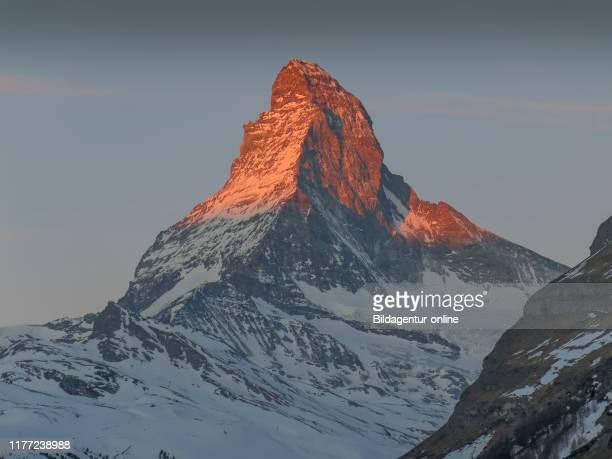 Matterhorn in Morning-red, Cerium-weakly, Valais, Switzerland, Matterhorn im Morgenrot, Zermatt, Wallis, Switzerland.