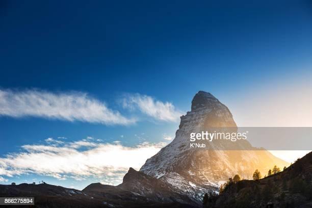 Matterhorn mountain and cable ski in beautiful sunset time from Zermatt, Switzerland