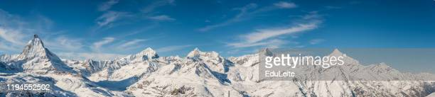 matterhorn mountain winter view - swiss alps stock pictures, royalty-free photos & images