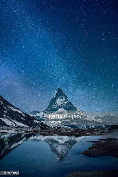 matterhorn - night - swiss alps stock pictures, royalty-free photos & images