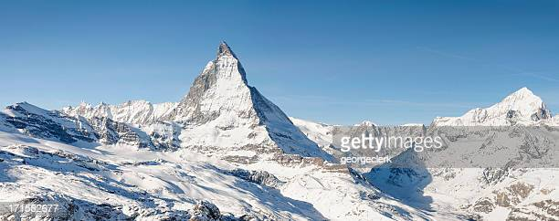 matterhorn panorama - european alps stock photos and pictures