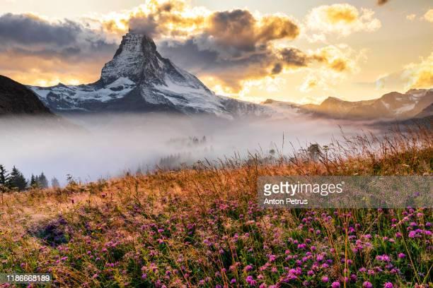 matterhorn peak at misty dawn. zermatt, switzerland. - valais canton stock pictures, royalty-free photos & images