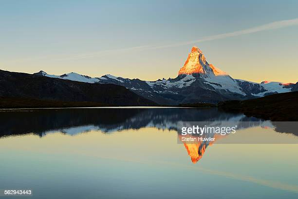Matterhorn reflected in lake Stellisee, at sunrise, Valais Alps, Canton of Valais, Zermatt, Switzerland